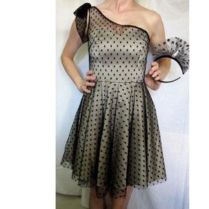 Black Gold Vintage Dress Lace Net London Goth Mod